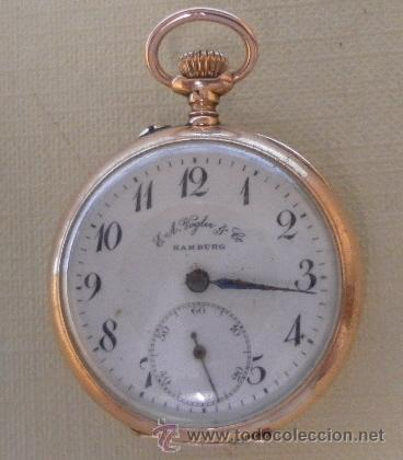 Relojes de bolsillo: Antiguo reloj. Bolsillo. E.A. Vogler. Hamburgo. Oro de 14 Quilates. - Foto 2 - 32313259
