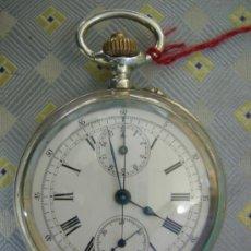 Relojes de bolsillo: ANTIGUO RELOJ DE BOLSILLO CARGA MANUAL CRONOGRAFO, PLATA, 2 TAPAS FUNCIONANDO CORR. . Lote 35644419