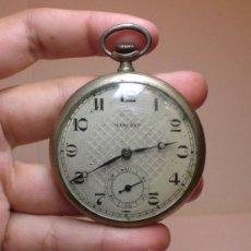 Relojes de bolsillo: RELOJ DE BOLSILLO. CARGA MANUAL. MARCHEF. CON SEGUNDERO. PLATA .800 MLS (CON CONTRASTES). Lote 35794704