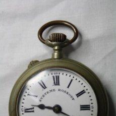 Relojes de bolsillo: ANTIGUO RELOJ DE BOLSILLO MOVIMIENTO A CUERDA - SISTEMA ROSKOPF - ARGENTAN - FUNCIONANDO. Lote 36472349