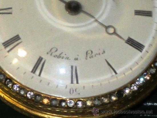 PIEZA DE MUSEO RELOJ BOLSILLO ORO Y ESMALTE ROBIN PARIS (Relojes - Bolsillo Carga Manual)
