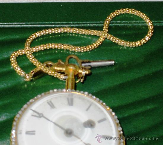 Relojes de bolsillo: PIEZA DE MUSEO RELOJ BOLSILLO ORO Y ESMALTE ROBIN PARIS - Foto 2 - 36803912