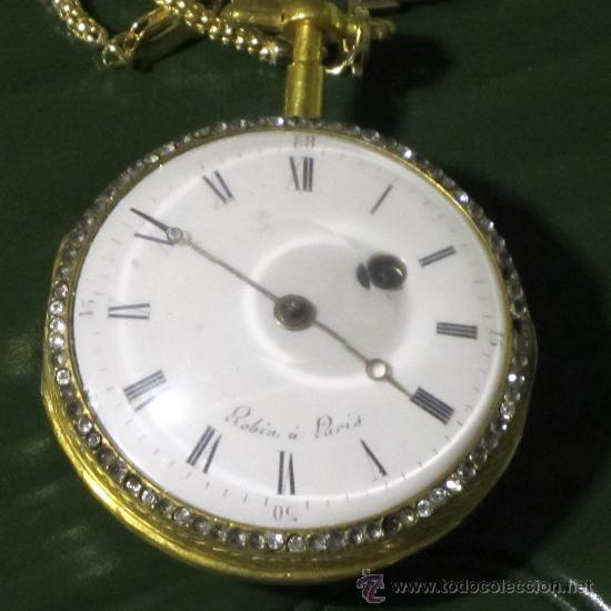 Relojes de bolsillo: PIEZA DE MUSEO RELOJ BOLSILLO ORO Y ESMALTE ROBIN PARIS - Foto 3 - 36803912