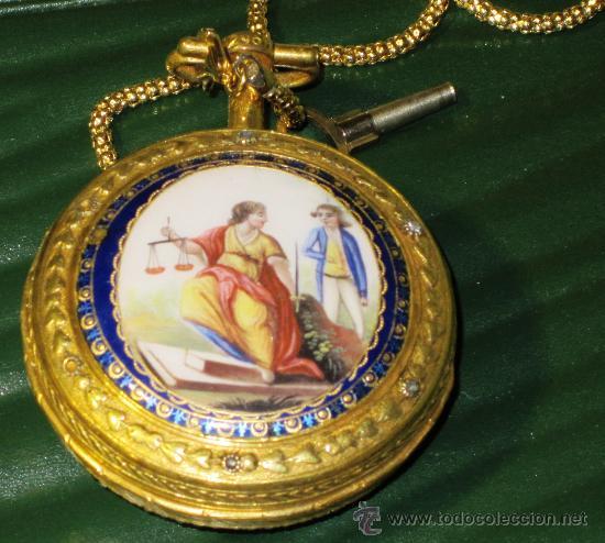 Relojes de bolsillo: PIEZA DE MUSEO RELOJ BOLSILLO ORO Y ESMALTE ROBIN PARIS - Foto 5 - 36803912