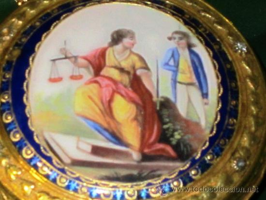 Relojes de bolsillo: PIEZA DE MUSEO RELOJ BOLSILLO ORO Y ESMALTE ROBIN PARIS - Foto 6 - 36803912