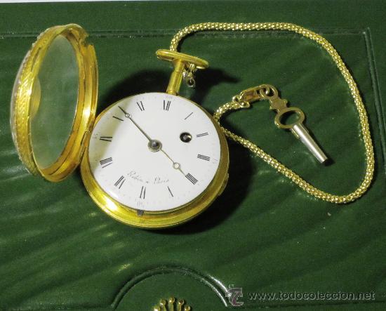 Relojes de bolsillo: PIEZA DE MUSEO RELOJ BOLSILLO ORO Y ESMALTE ROBIN PARIS - Foto 7 - 36803912