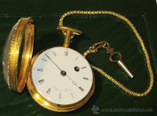 Relojes de bolsillo: PIEZA DE MUSEO RELOJ BOLSILLO ORO Y ESMALTE ROBIN PARIS - Foto 8 - 36803912