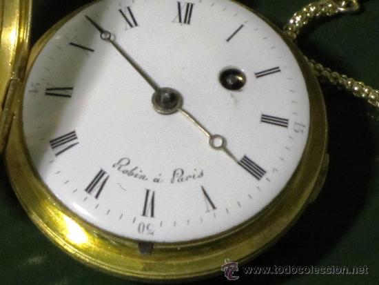 Relojes de bolsillo: PIEZA DE MUSEO RELOJ BOLSILLO ORO Y ESMALTE ROBIN PARIS - Foto 9 - 36803912
