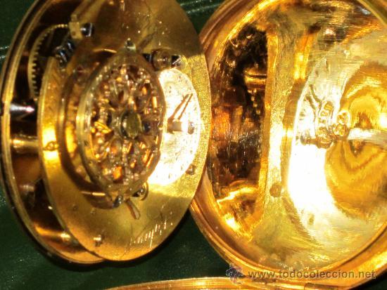 Relojes de bolsillo: PIEZA DE MUSEO RELOJ BOLSILLO ORO Y ESMALTE ROBIN PARIS - Foto 10 - 36803912