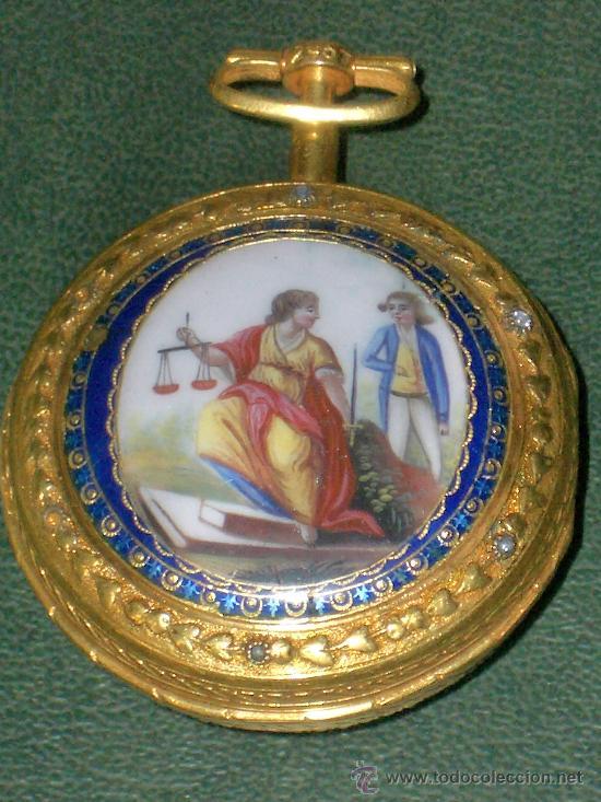 Relojes de bolsillo: PIEZA DE MUSEO RELOJ BOLSILLO ORO Y ESMALTE ROBIN PARIS - Foto 21 - 36803912