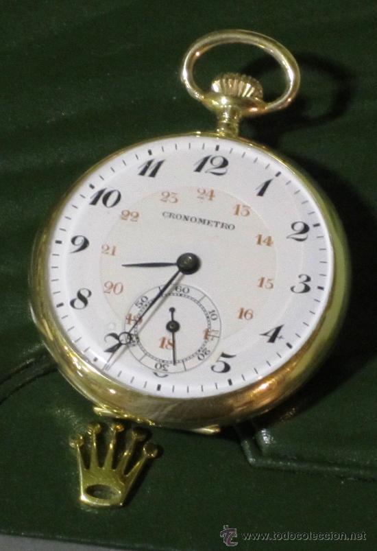 Relojes de bolsillo: SENSACIONAL RELOJ BOLSILLO CRONOMETRO ORO - Foto 3 - 36809627