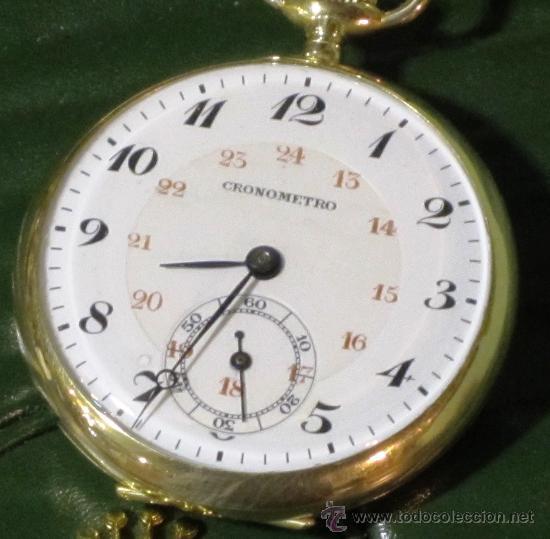 Relojes de bolsillo: SENSACIONAL RELOJ BOLSILLO CRONOMETRO ORO - Foto 4 - 36809627