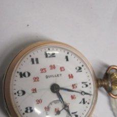Relojes de bolsillo: RELOJ DE BOLSILLO MARCA QUILLET - DOBLE NUMERACION - CORONA A LAS 3 -REVERSO CERAMICA PINTADA. Lote 121911870