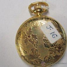 Relojes de bolsillo: RELOJ DE CUARZO EN METAL DORADO, CON GUARDAPOLVO DELANTERO. FUNCIONANDO. 4 CMS. DIÁMETRO APROX.. Lote 38258140