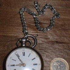 Relojes de bolsillo: PRECIOSO RELOJ DE BOLSILLO, PLATA ,FUNCIONA. Lote 39203115