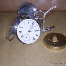 Relojes de bolsillo: ANTIGUO RELOJ DE PLATA SEMI-CATALINO ,CUERDA DE LLAVE FUNCIONANDO . Lote 39664118