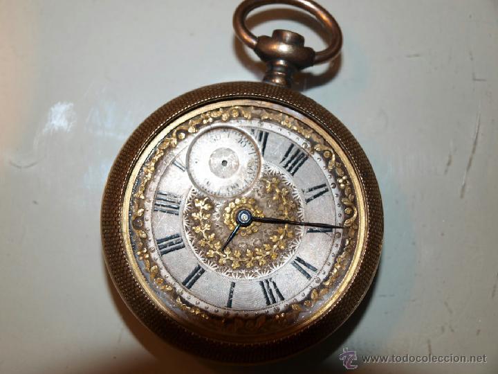 ANTIGUO RELOJ DE BOLSILLO TORNADO. CAJA DORADA. 53M/M DE DIÁMETRO. (Relojes - Bolsillo Carga Manual)