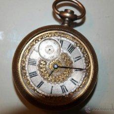 Relojes de bolsillo: ANTIGUO RELOJ DE BOLSILLO TORNADO. CAJA DORADA. 53M/M DE DIÁMETRO. . Lote 39877695