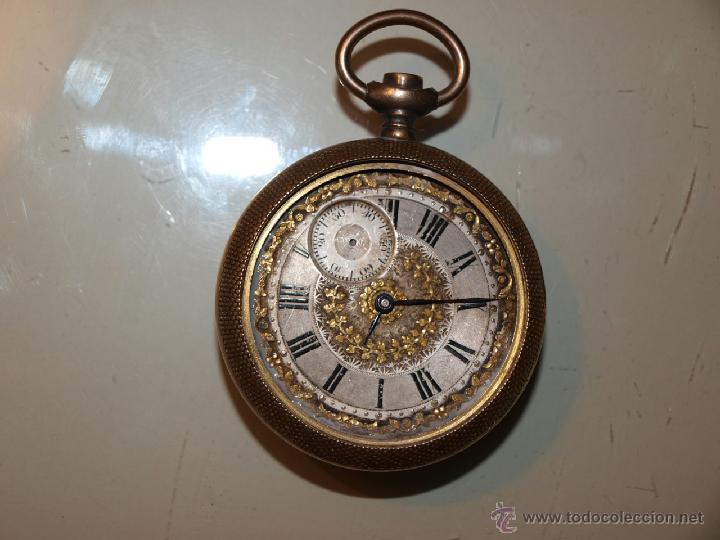 Relojes de bolsillo: Antiguo reloj de bolsillo TORNADO. Caja dorada. 53m/m de diámetro. - Foto 2 - 39877695