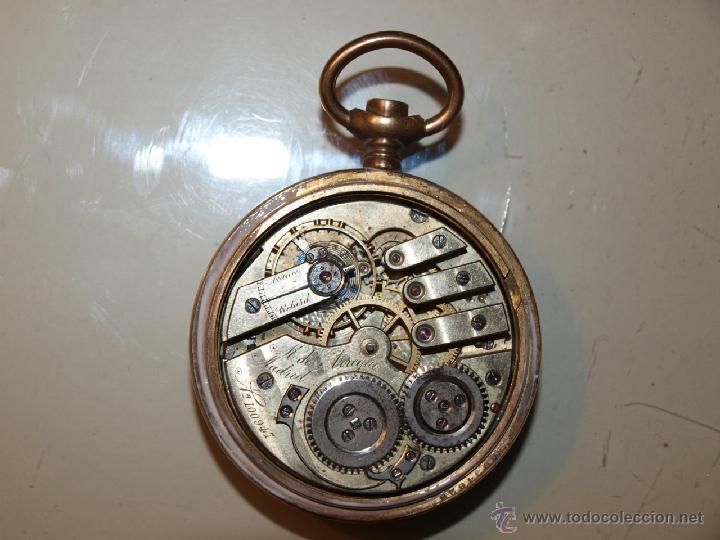 Relojes de bolsillo: Antiguo reloj de bolsillo TORNADO. Caja dorada. 53m/m de diámetro. - Foto 4 - 39877695