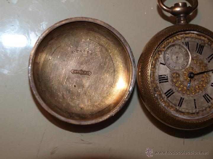 Relojes de bolsillo: Antiguo reloj de bolsillo TORNADO. Caja dorada. 53m/m de diámetro. - Foto 5 - 39877695
