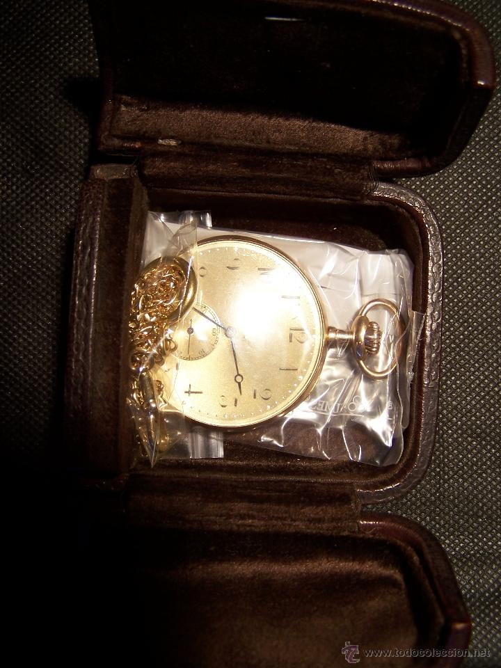 Relojes de bolsillo: ANTIGUO RELOJ DE ORO LONGINES, AÑO 1905, CON SU LEONTINA DE ORO Y CAJA RELOJERA DE VIAJE - Foto 18 - 41410262
