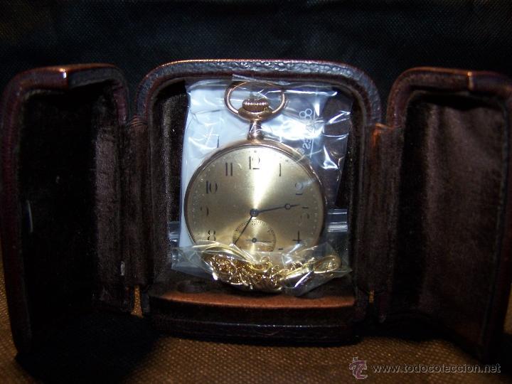 Relojes de bolsillo: ANTIGUO RELOJ DE ORO LONGINES, AÑO 1905, CON SU LEONTINA DE ORO Y CAJA RELOJERA DE VIAJE - Foto 19 - 41410262