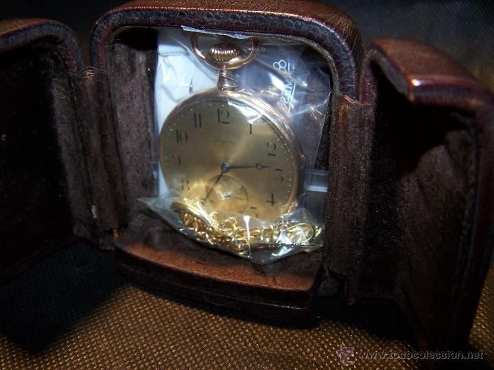 Relojes de bolsillo: ANTIGUO RELOJ DE ORO LONGINES, AÑO 1905, CON SU LEONTINA DE ORO Y CAJA RELOJERA DE VIAJE - Foto 21 - 41410262