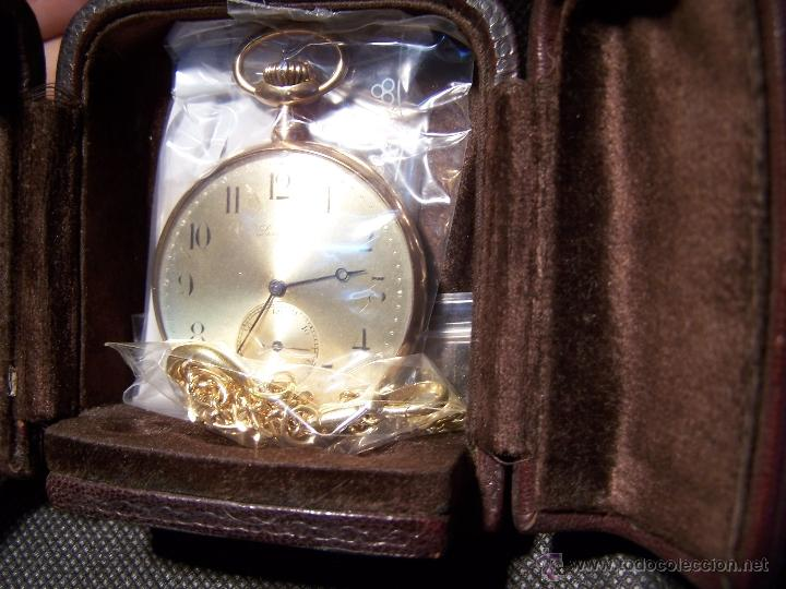 Relojes de bolsillo: ANTIGUO RELOJ DE ORO LONGINES, AÑO 1905, CON SU LEONTINA DE ORO Y CAJA RELOJERA DE VIAJE - Foto 23 - 41410262