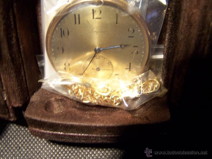 Relojes de bolsillo: ANTIGUO RELOJ DE ORO LONGINES, AÑO 1905, CON SU LEONTINA DE ORO Y CAJA RELOJERA DE VIAJE - Foto 24 - 41410262