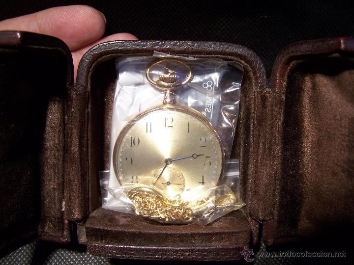 Relojes de bolsillo: ANTIGUO RELOJ DE ORO LONGINES, AÑO 1905, CON SU LEONTINA DE ORO Y CAJA RELOJERA DE VIAJE - Foto 25 - 41410262