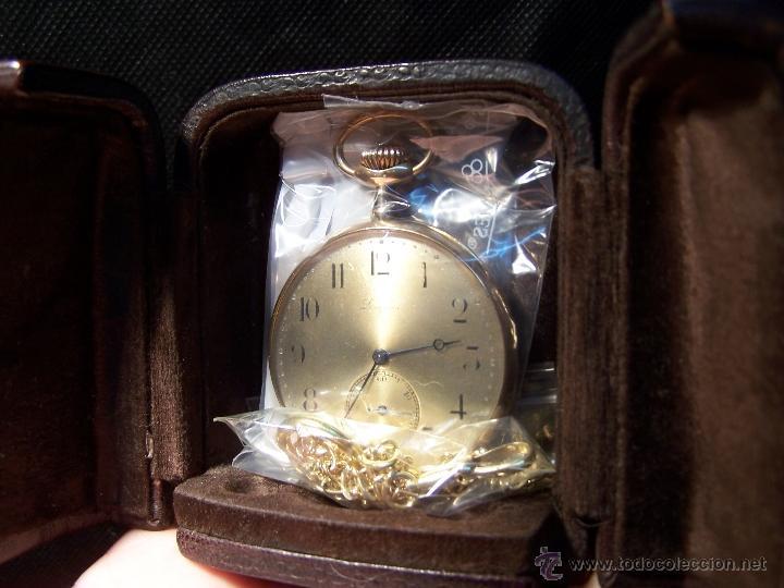 Relojes de bolsillo: ANTIGUO RELOJ DE ORO LONGINES, AÑO 1905, CON SU LEONTINA DE ORO Y CAJA RELOJERA DE VIAJE - Foto 28 - 41410262
