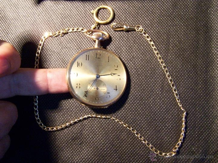 Relojes de bolsillo: ANTIGUO RELOJ DE ORO LONGINES, AÑO 1905, CON SU LEONTINA DE ORO Y CAJA RELOJERA DE VIAJE - Foto 33 - 41410262