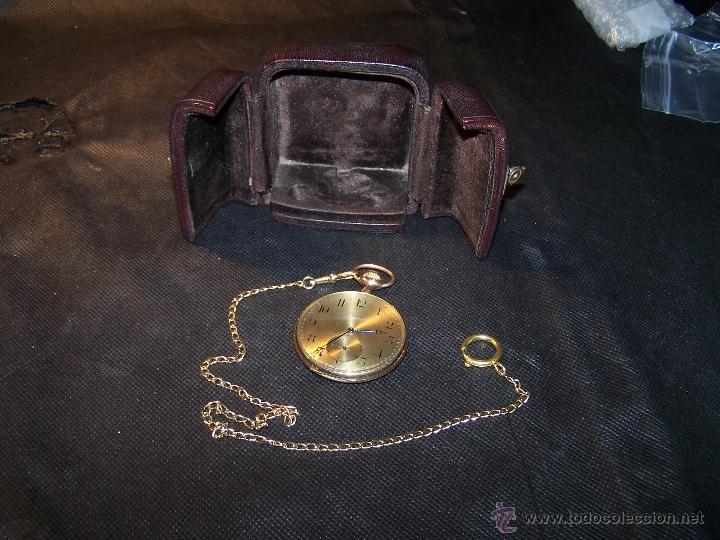 Relojes de bolsillo: ANTIGUO RELOJ DE ORO LONGINES, AÑO 1905, CON SU LEONTINA DE ORO Y CAJA RELOJERA DE VIAJE - Foto 36 - 41410262