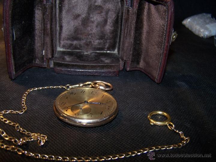 Relojes de bolsillo: ANTIGUO RELOJ DE ORO LONGINES, AÑO 1905, CON SU LEONTINA DE ORO Y CAJA RELOJERA DE VIAJE - Foto 37 - 41410262