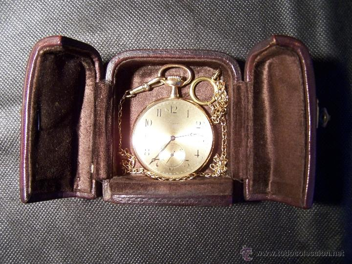 Relojes de bolsillo: ANTIGUO RELOJ DE ORO LONGINES, AÑO 1905, CON SU LEONTINA DE ORO Y CAJA RELOJERA DE VIAJE - Foto 41 - 41410262