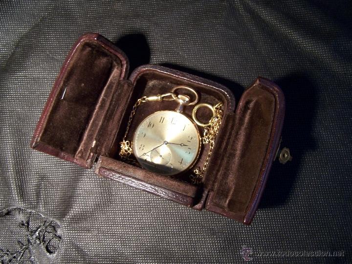 Relojes de bolsillo: ANTIGUO RELOJ DE ORO LONGINES, AÑO 1905, CON SU LEONTINA DE ORO Y CAJA RELOJERA DE VIAJE - Foto 43 - 41410262