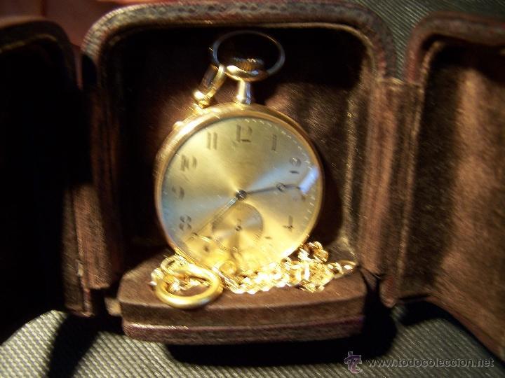 Relojes de bolsillo: ANTIGUO RELOJ DE ORO LONGINES, AÑO 1905, CON SU LEONTINA DE ORO Y CAJA RELOJERA DE VIAJE - Foto 45 - 41410262