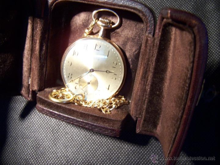 Relojes de bolsillo: ANTIGUO RELOJ DE ORO LONGINES, AÑO 1905, CON SU LEONTINA DE ORO Y CAJA RELOJERA DE VIAJE - Foto 46 - 41410262