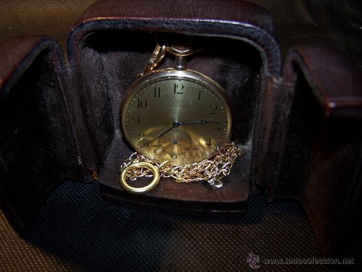 Relojes de bolsillo: ANTIGUO RELOJ DE ORO LONGINES, AÑO 1905, CON SU LEONTINA DE ORO Y CAJA RELOJERA DE VIAJE - Foto 48 - 41410262