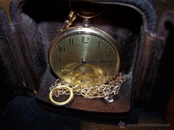 Relojes de bolsillo: ANTIGUO RELOJ DE ORO LONGINES, AÑO 1905, CON SU LEONTINA DE ORO Y CAJA RELOJERA DE VIAJE - Foto 49 - 41410262