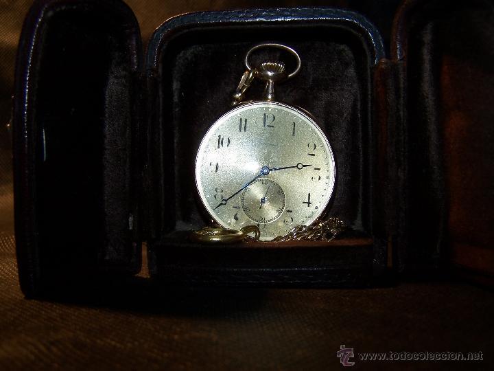 Relojes de bolsillo: ANTIGUO RELOJ DE ORO LONGINES, AÑO 1905, CON SU LEONTINA DE ORO Y CAJA RELOJERA DE VIAJE - Foto 50 - 41410262