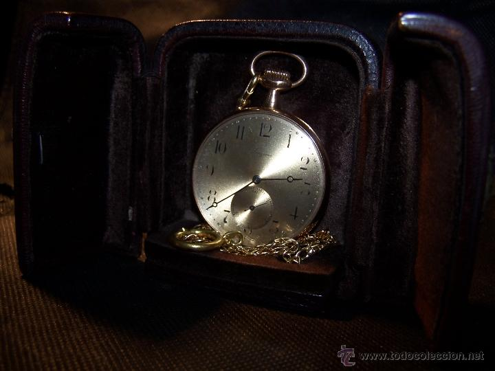 Relojes de bolsillo: ANTIGUO RELOJ DE ORO LONGINES, AÑO 1905, CON SU LEONTINA DE ORO Y CAJA RELOJERA DE VIAJE - Foto 51 - 41410262