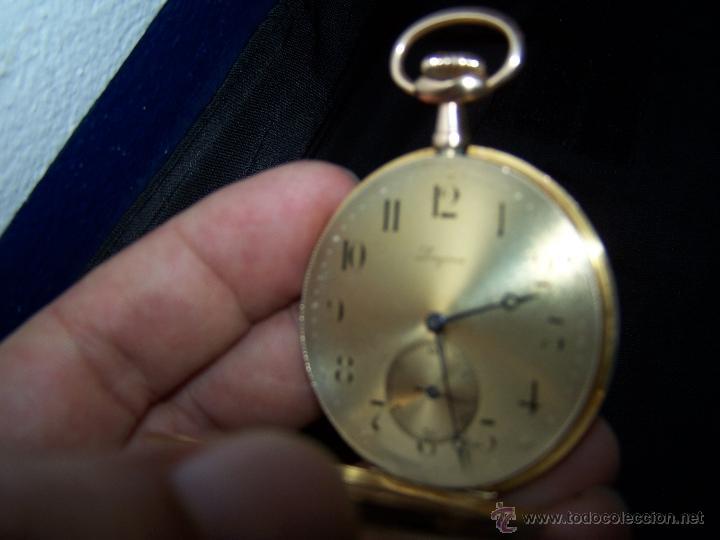 Relojes de bolsillo: ANTIGUO RELOJ DE ORO LONGINES, AÑO 1905, CON SU LEONTINA DE ORO Y CAJA RELOJERA DE VIAJE - Foto 72 - 41410262