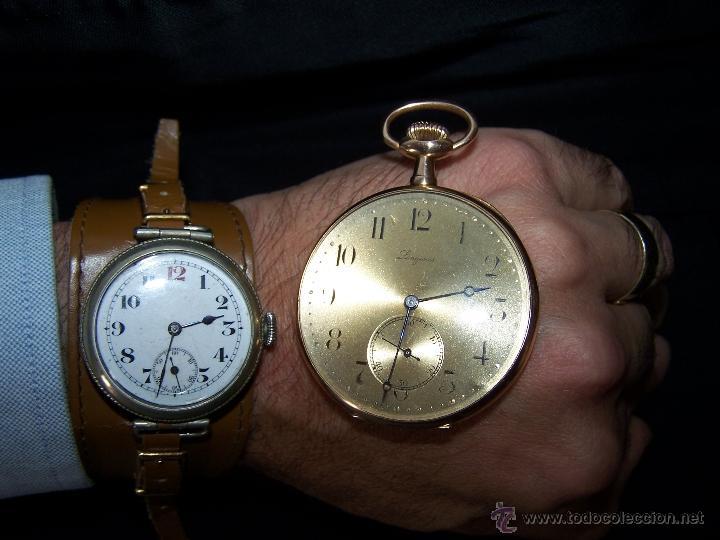 Relojes de bolsillo: ANTIGUO RELOJ DE ORO LONGINES, AÑO 1905, CON SU LEONTINA DE ORO Y CAJA RELOJERA DE VIAJE - Foto 78 - 41410262
