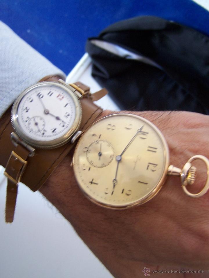 Relojes de bolsillo: ANTIGUO RELOJ DE ORO LONGINES, AÑO 1905, CON SU LEONTINA DE ORO Y CAJA RELOJERA DE VIAJE - Foto 85 - 41410262