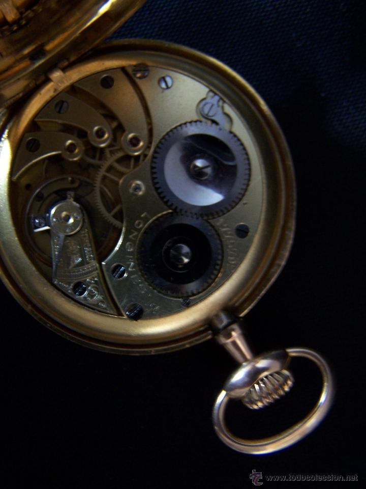 Relojes de bolsillo: ANTIGUO RELOJ DE ORO LONGINES, AÑO 1905, CON SU LEONTINA DE ORO Y CAJA RELOJERA DE VIAJE - Foto 90 - 41410262
