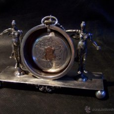 Relojes de bolsillo: ANTIGUO Y RARO RELOJ LEPINE DE PLATA CON SU RELOJERA TAMBIÉN EN PLATA. Lote 41445455