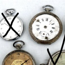 Relojes de bolsillo: RELOJES BOLSILLO MUY ANTIGUOS SUIZO LATON BAÑADO PLATA FONDO DORADO Y PORCELANA. Lote 42049202
