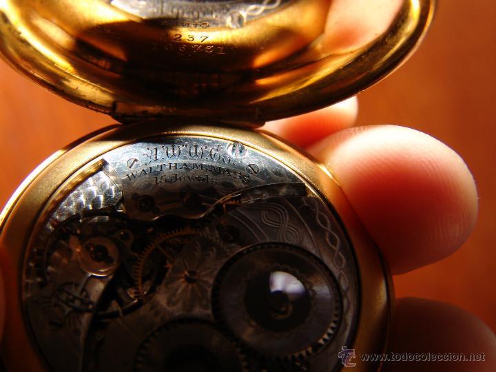 Relojes de bolsillo: PRECIOSO RELOJ ANTIGUO DE BOLSILLO ORO 18K.WALTHAM,MASS. 15 JEWELS. - Foto 8 - 42391981